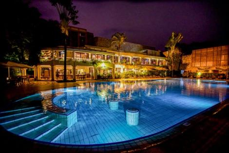 Nairobi Serena Hotel swimming pool area. The hotel closed down some of its operations in Kenya following the COVID-19 pandemic.